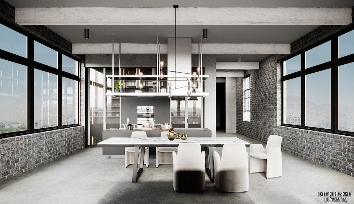 3个现代工业风灰色系公寓设计