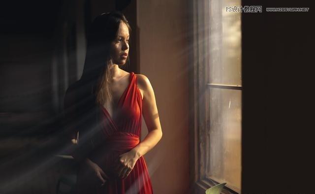 PS给室内人物照片添加窗户透射太阳光效果