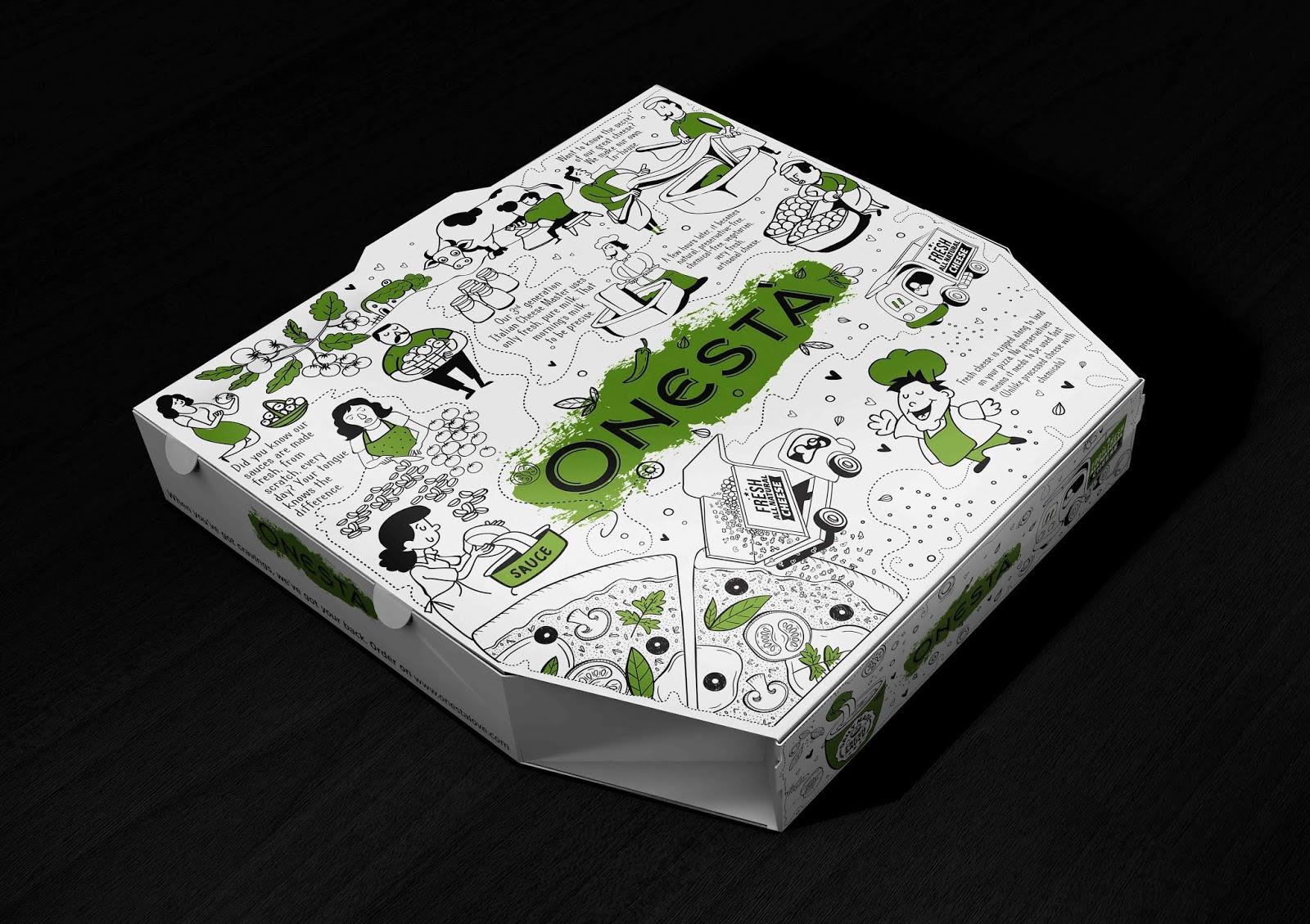 Onesta比萨外卖包装盒设计