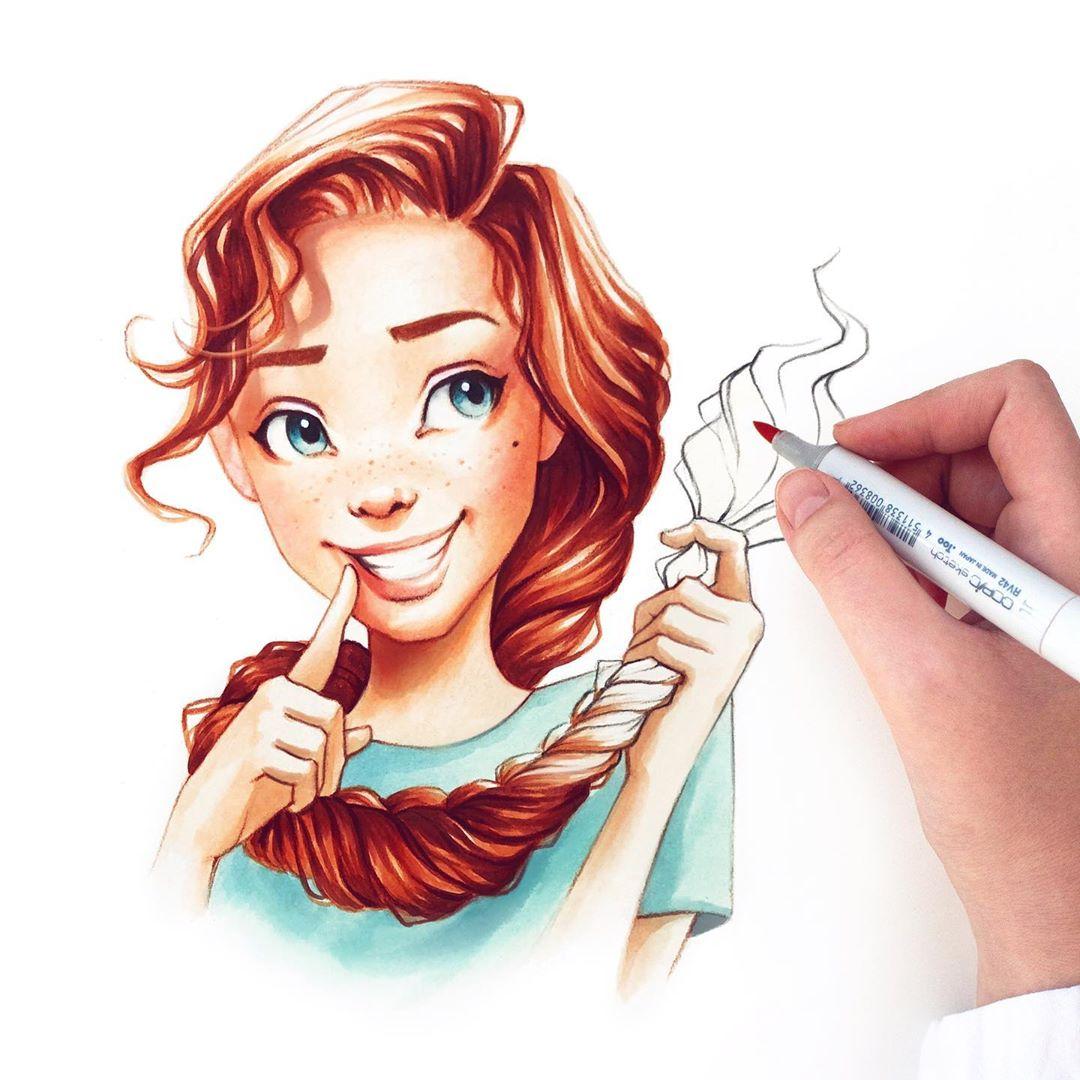 Lera Kiryakova可爱卡通人物肖像插画