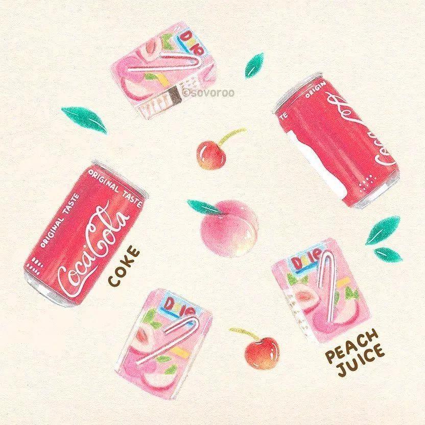 韩国SOVOROO清新可爱的彩铅美食插画