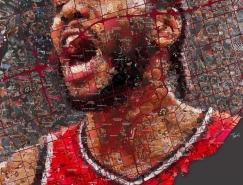 希腊艺术家Charis Tsevis:NBA球星马赛克肖像插画