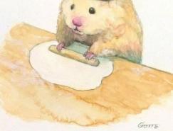 日本插画师Gotte笔下的超萌小仓鼠