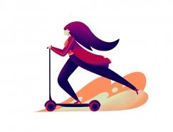 时尚美女和滑板√车:PS打造一个美丽的噪点插画