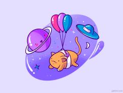 PS绘制一个可爱的喵星人噪点插画
