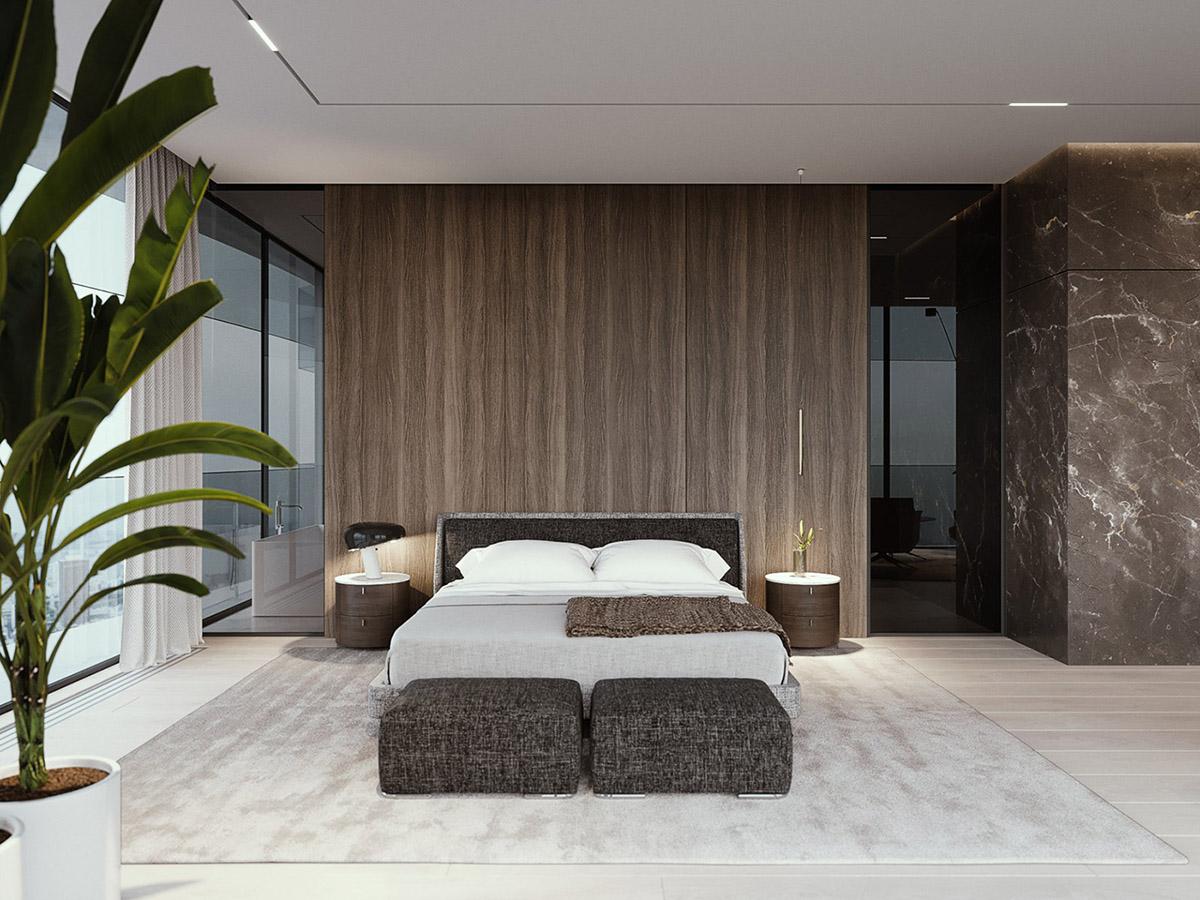 家居壁纸效果图_豪华的黑色大理石 精致的胡桃木墙板:豪华现代家居装饰 - 设计 ...