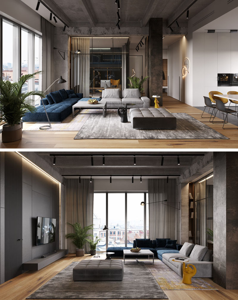 莫斯科三间公寓合并改造成loft住宅