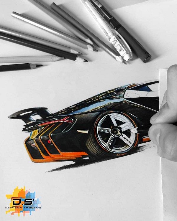 Deivison Samuel逼真的汽车彩铅画作品