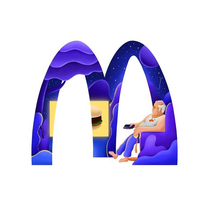 David Huynh以插画风格重新设计的著名品牌标识