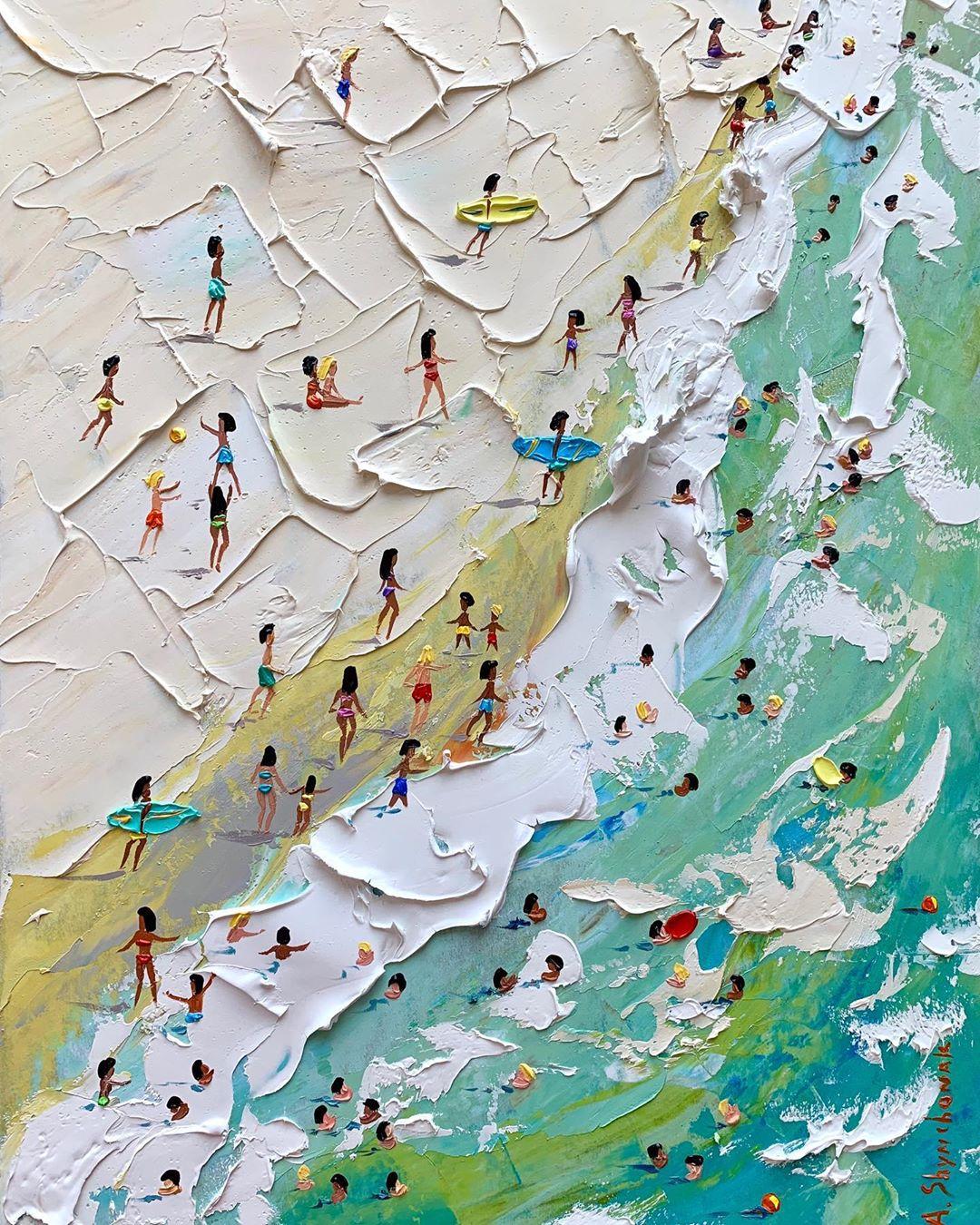 海滩边的度假时光:Alena Shymchonak油画作品欣赏
