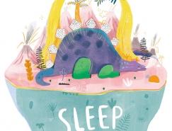 森林中的可爱动物睡觉觉:世界睡眠日主题插