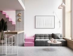 柔和的粉红色调:70平精致小宅设计