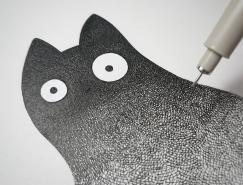 无数细线勾画的可爱猫咪:Luis Coelho的可爱插画作