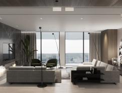 豪华的黑色大理石 精致的胡桃木墙板:豪华现代