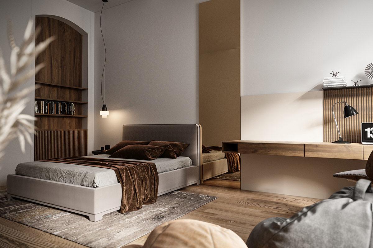 拱门和木制天花板:复古与现代装饰元素结合的住宅设计