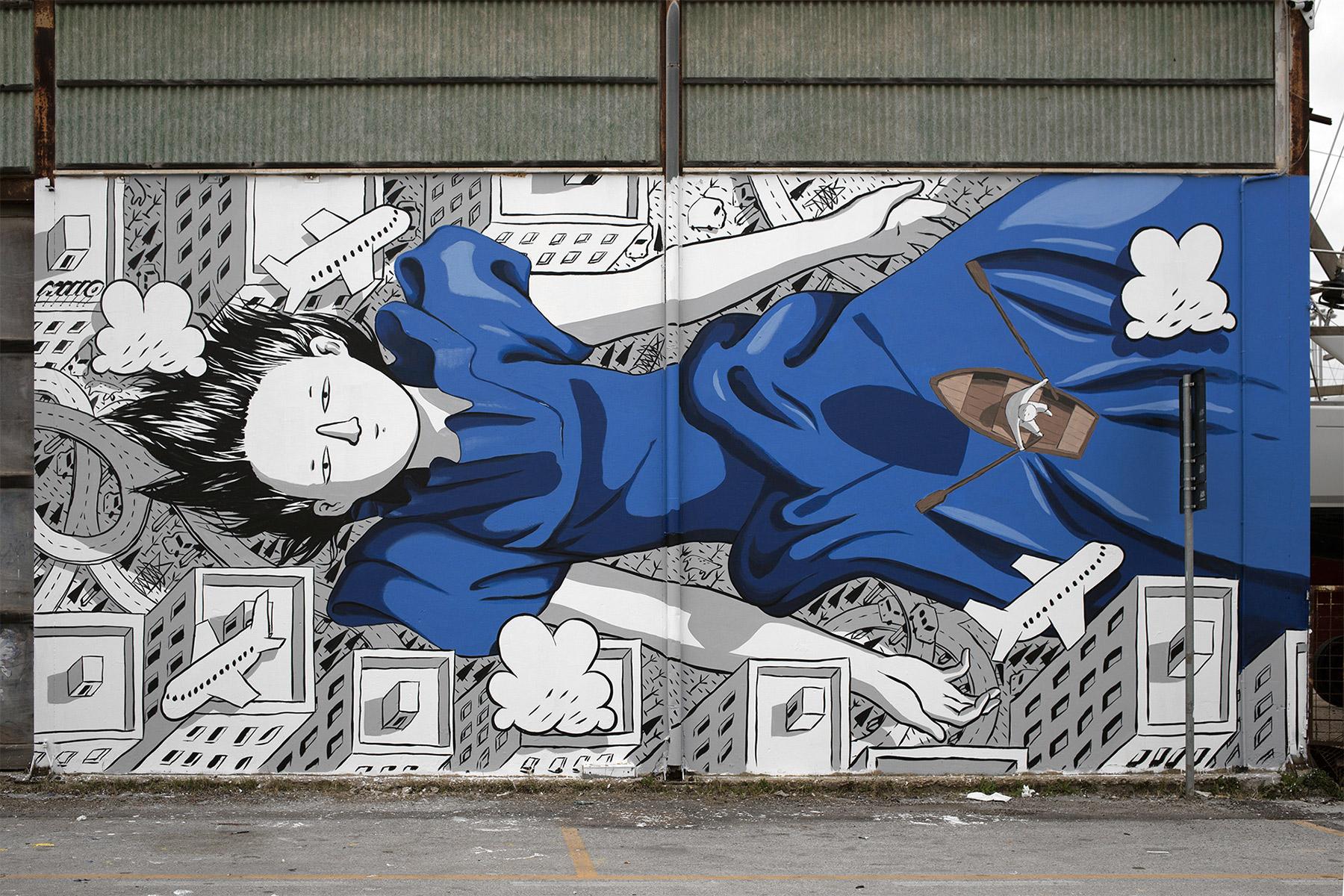 意大利米洛(Millo)富有情感的街头壁画