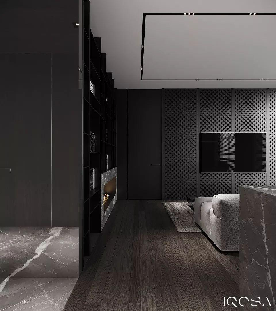 帅酷的高级黑:极简硬朗的现代住宅空间