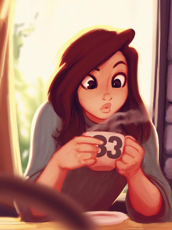 Raichiyo33可爱少女卡通肖像插画
