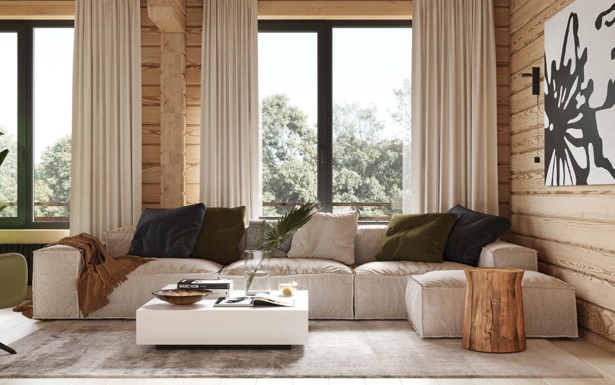 温暖的木板墙∏营造出215平舒适的住宅空间