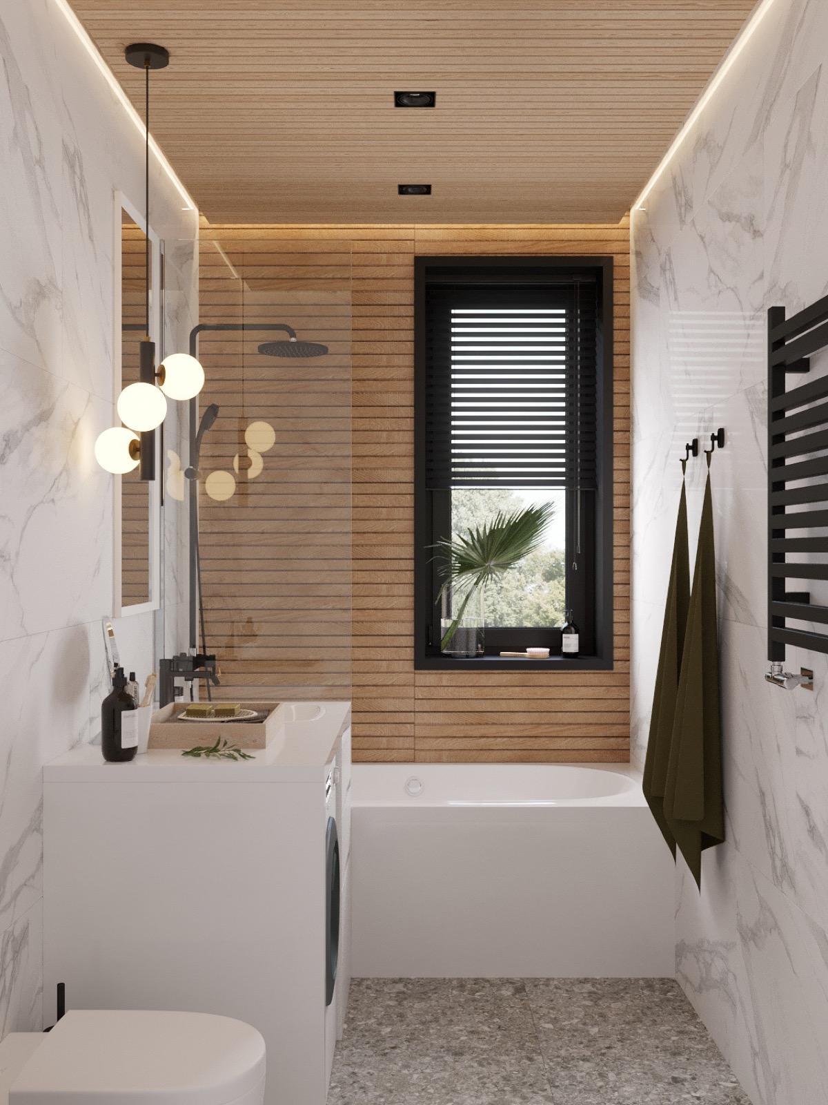 温暖的木板墙营造出215平舒适的住宅空间