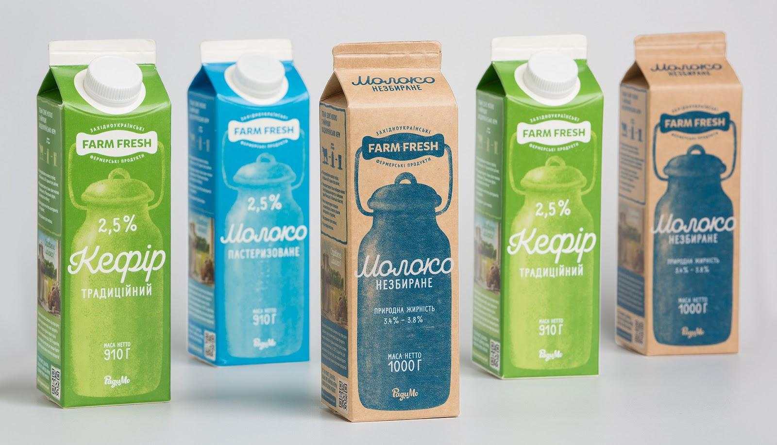复古风格设计的Farm Fresh牛奶包装