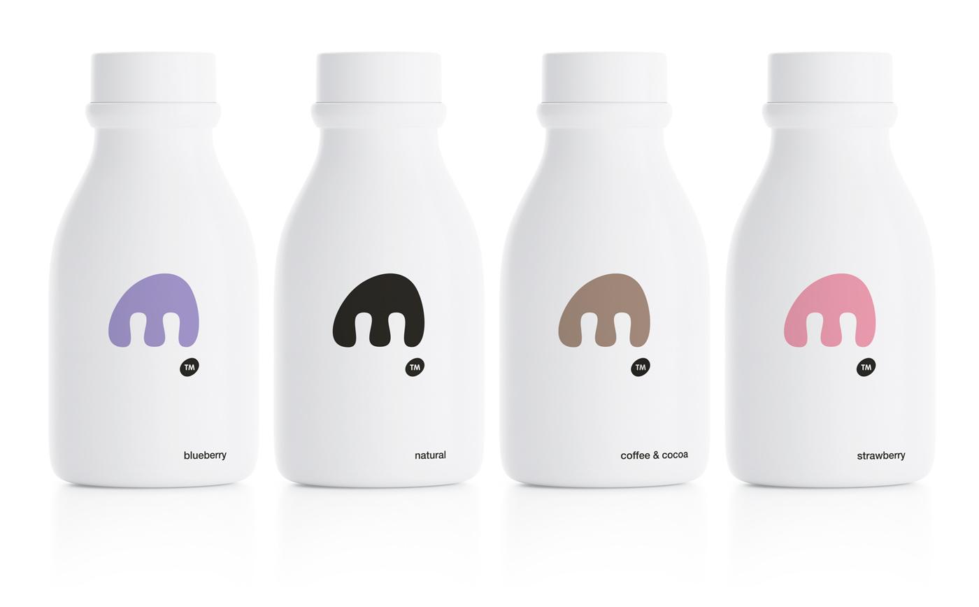 极简风格的MOO酸奶包装