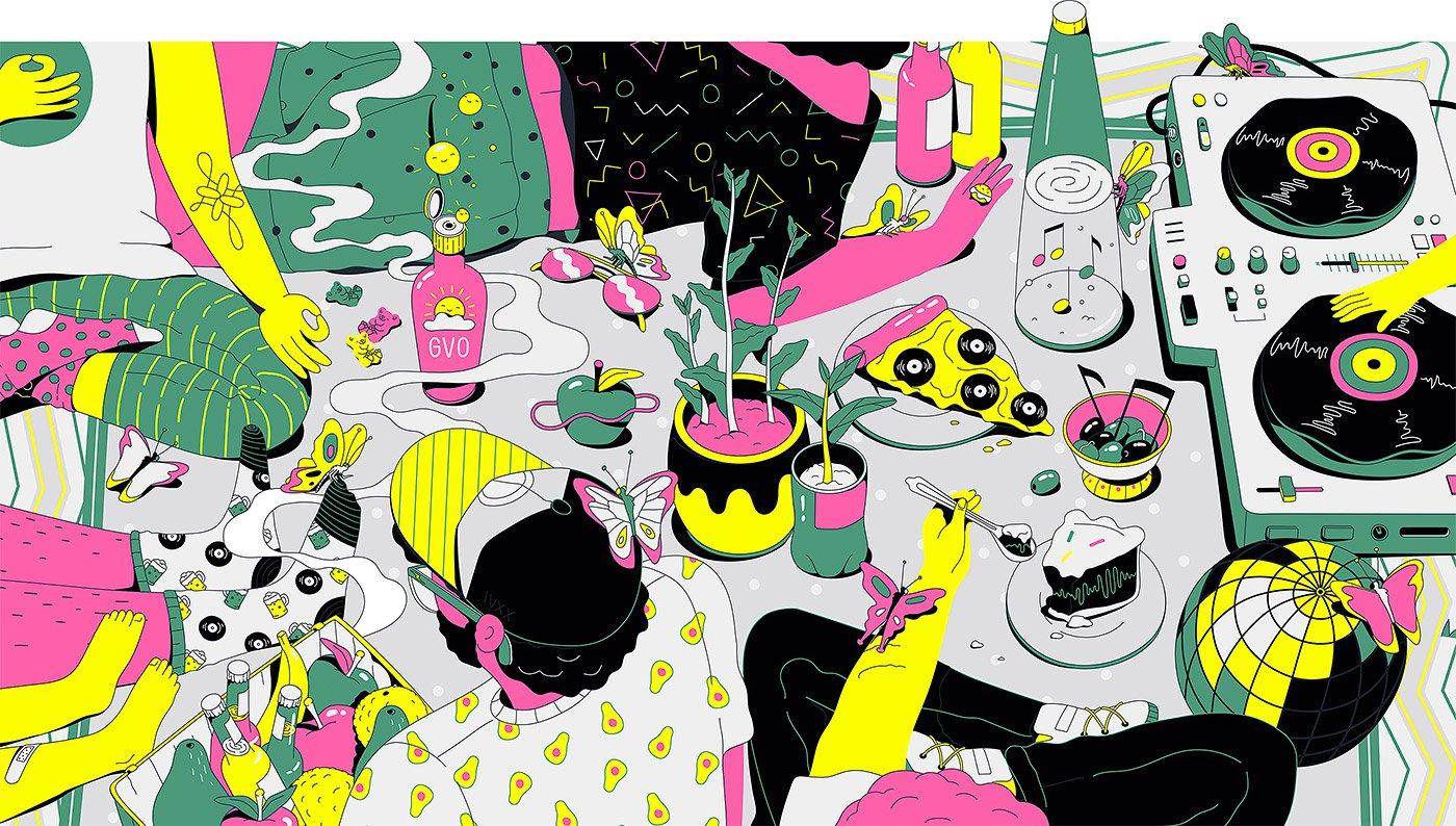 多米尼加Lena Vargas潮流酷炫插画作品