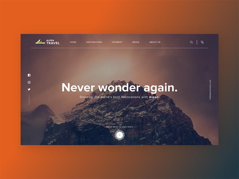 旅游網站著陸頁面設計欣賞