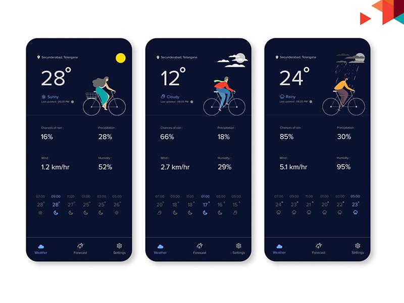 国外一组极简风格天气APP界面设计