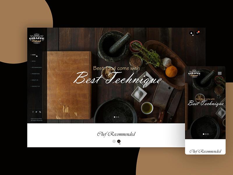 国外极简风格的美食餐厅网页设计