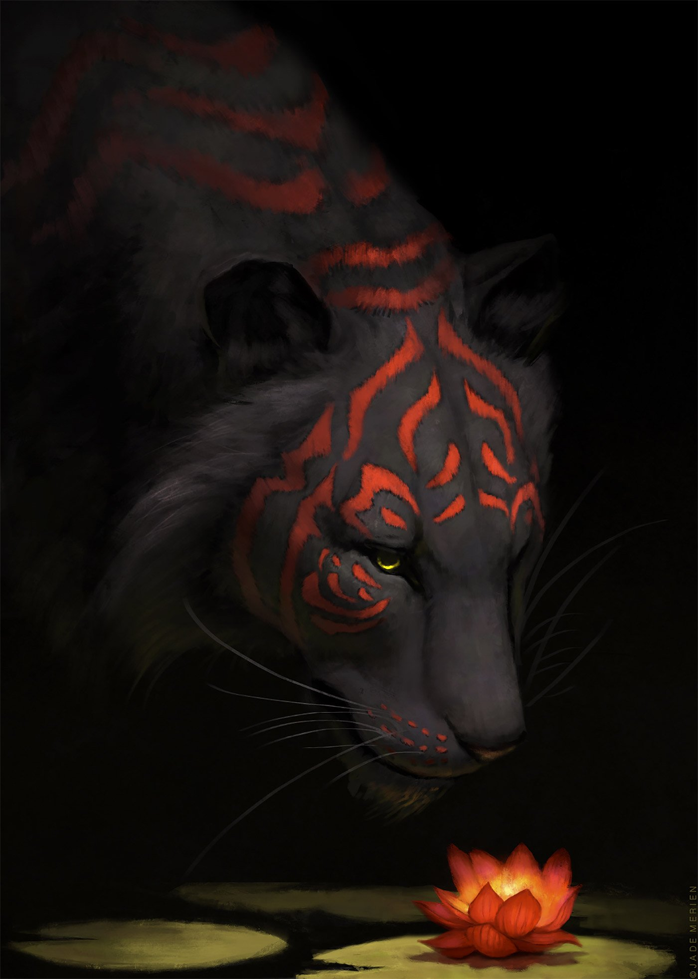 強大的光影效果與奇幻元素:Jade Merien動物插畫作品