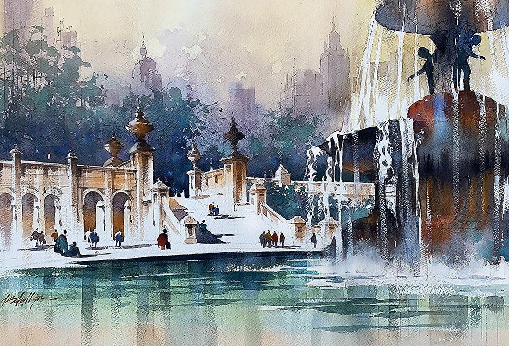 Thomas W. Schaller城市建筑水彩画