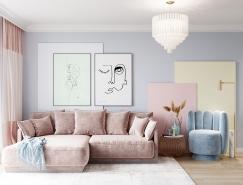 柔和的色调 甜蜜的感觉:俏皮的彩色公寓