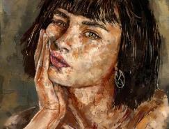 Ahmed Karam浓重油彩感觉的人物肖像插画