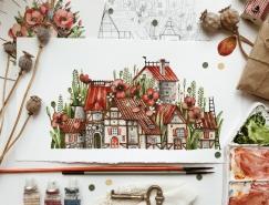 乌克兰Tonia Tkach画笔下迷人的花园小镇
