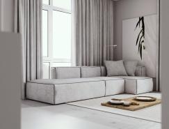灰白色的宁静极简公寓