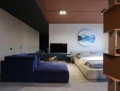 蓝橘配色的基辅精致小公寓