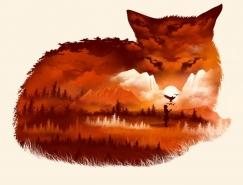 Dan Elijah G. Fajard有趣的负空间动物插画