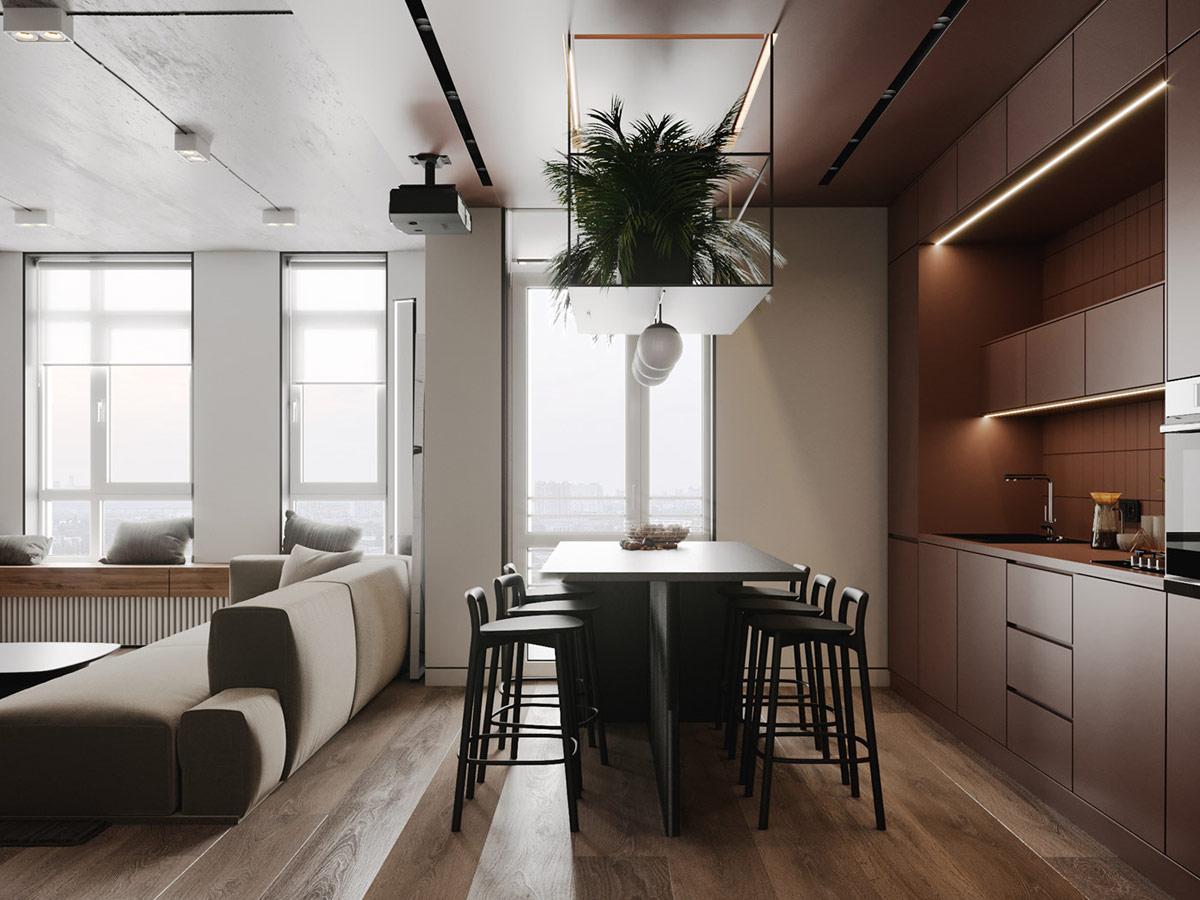 营造温馨的棕色:2套现代舒适的家居设计