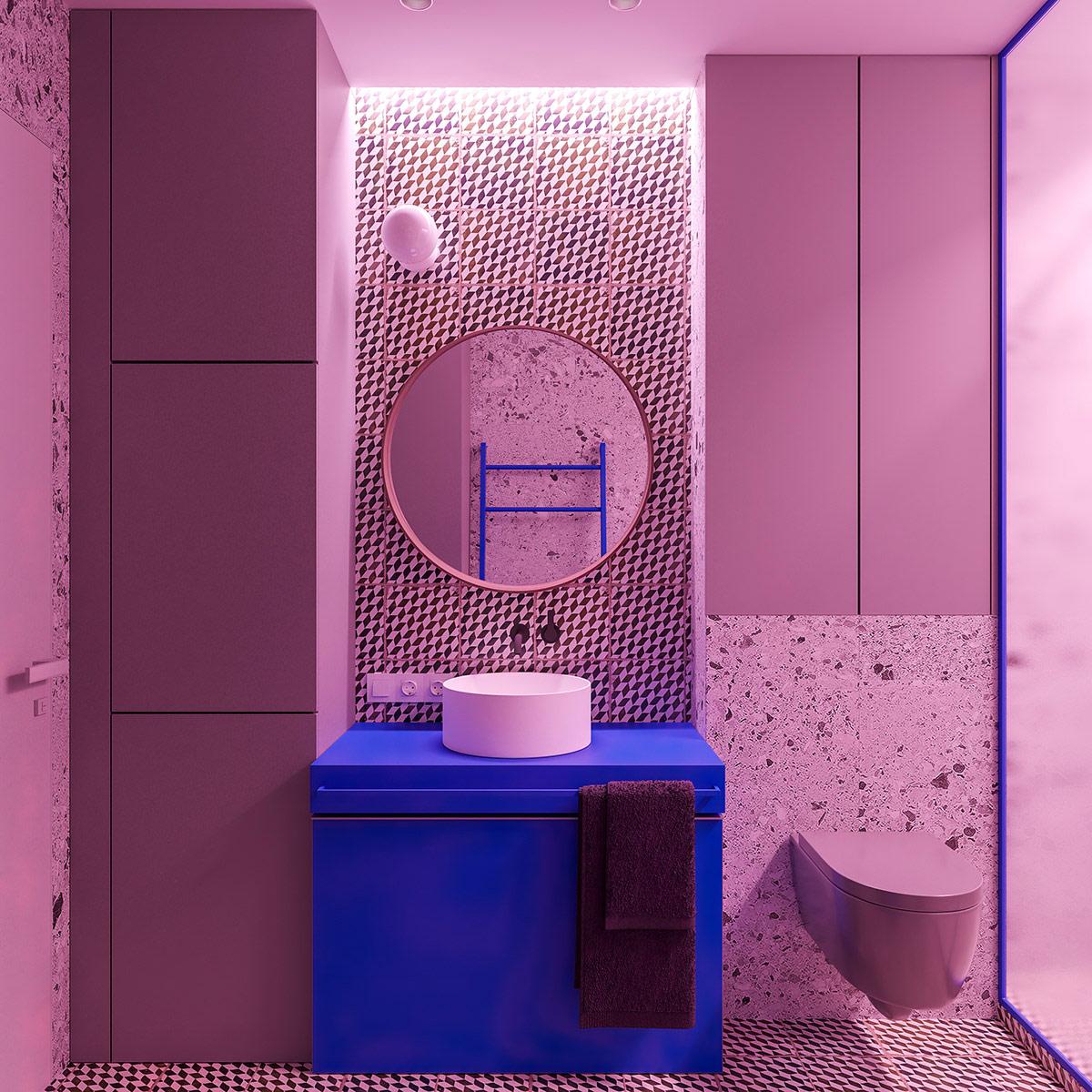 柔和浪漫的粉色浴室和卫生间澳门金沙网址
