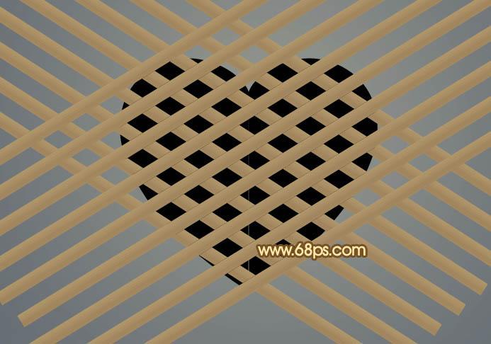 PS制作竹片编制的心形图案