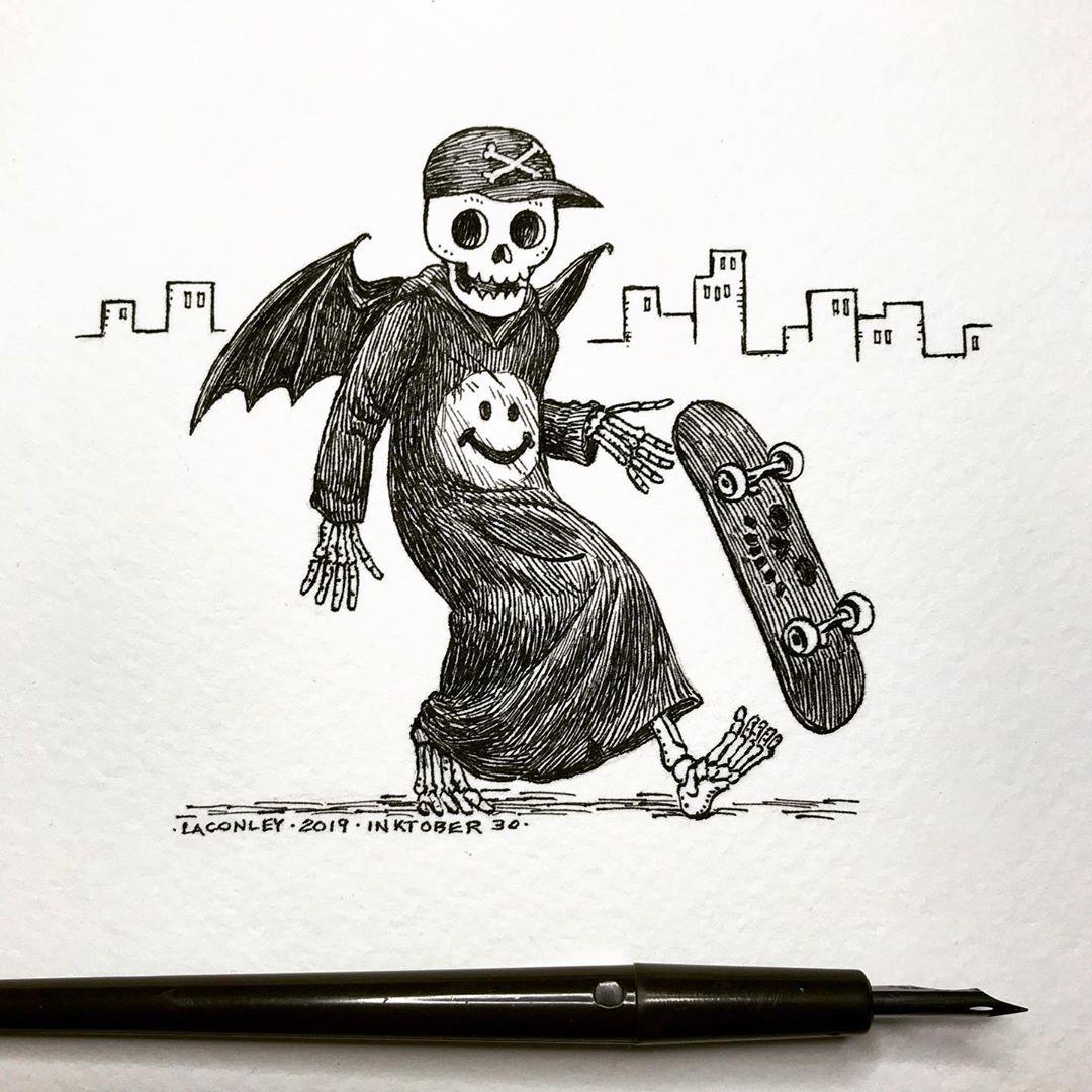 Laurie Conley可爱的幽灵骷髅钢笔画