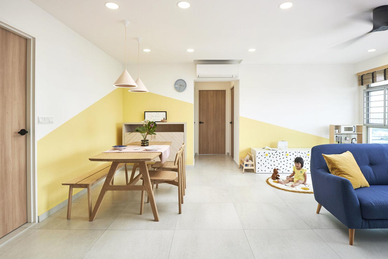 温煦的暖黄调  新加坡99㎡北欧风亲子宅