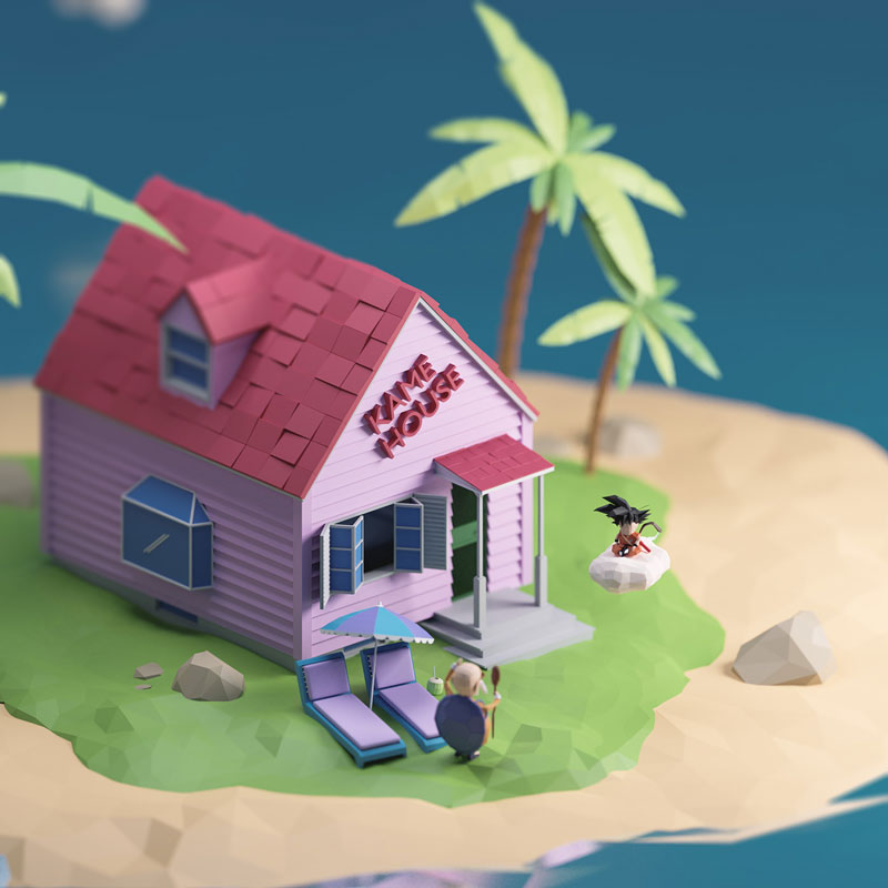 Ângelo Fernandes可爱的C4D低多边形风格小房子