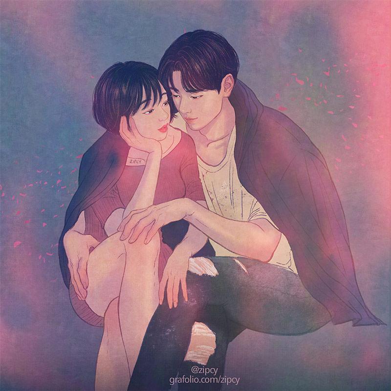 韩国插画家Zipcy心动撩人的情侣插画