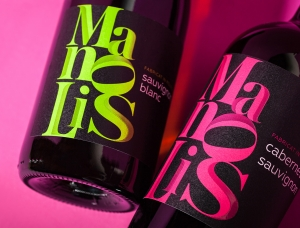时尚的字体排版 Manolis葡萄酒包装设