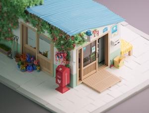 ?ngelo Fernandes可爱的C4D低多边形风格小房子