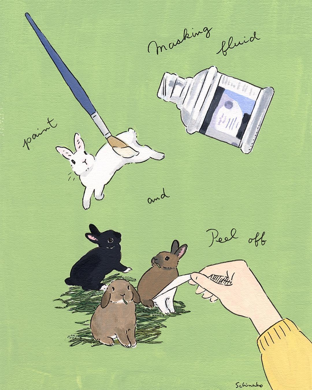 兔子与女主人的快乐生活:森山功子(Schinako Moriyama)插画作品
