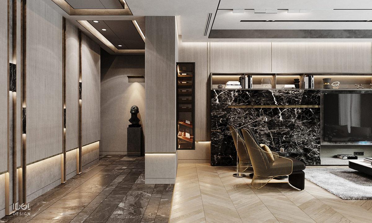 灰色和金色打造奢华现代居所