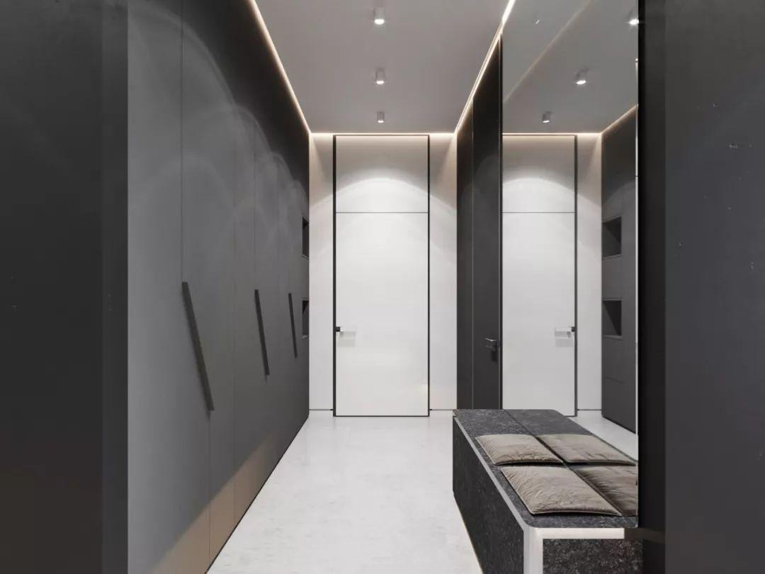 质感细腻!144平暗色调轻奢时尚住宅